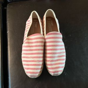 NEVER BEEN WORN TOMS striped shoes